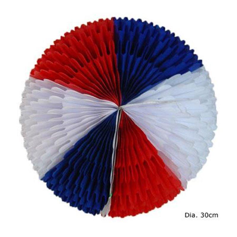 Boule Festonnée Bleu Blanc Rouge en Papier