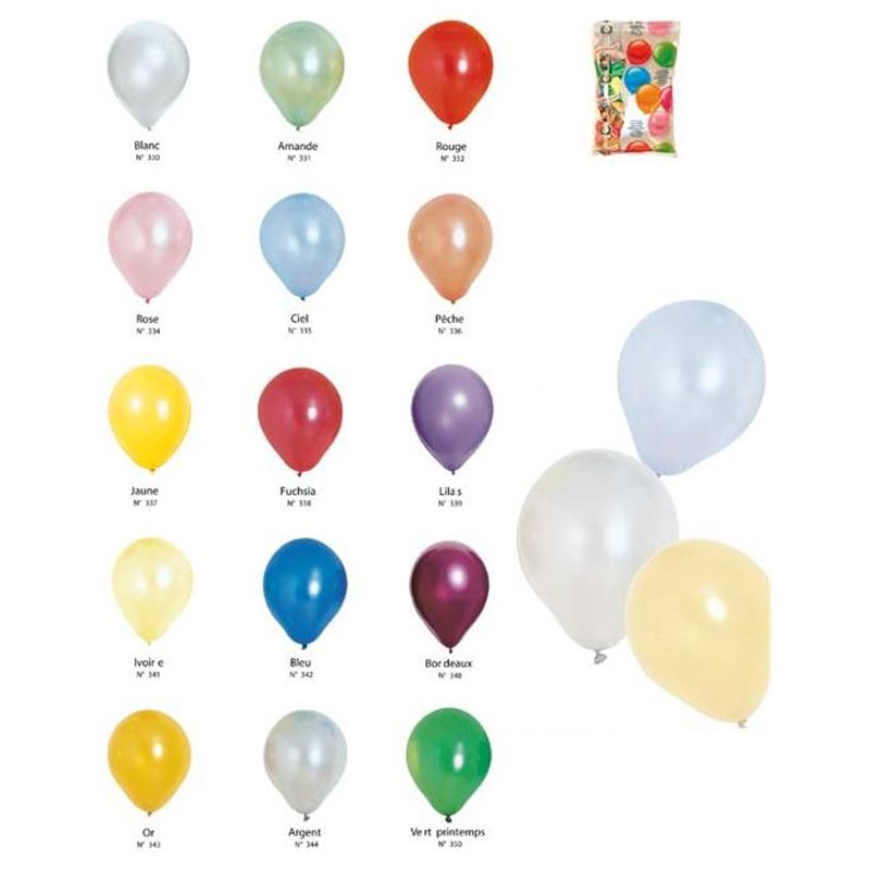 Lot de 100 Ballons Latex 40 cm Métallisés