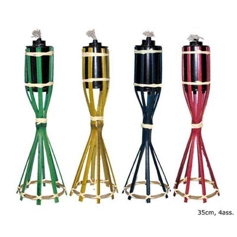 Lampe Pétrole Bois et Raphia avec Cuve Métallique