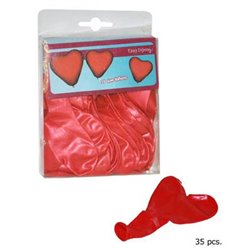 Lot de 12 Ballons Cœurs de Couleur Rouge