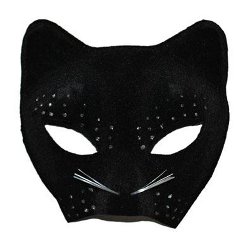 Demi-Masque de Chat Noir avec Strass