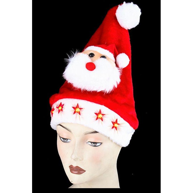Bonnet de Noël Lumineux avec Étoiles et Père Noël