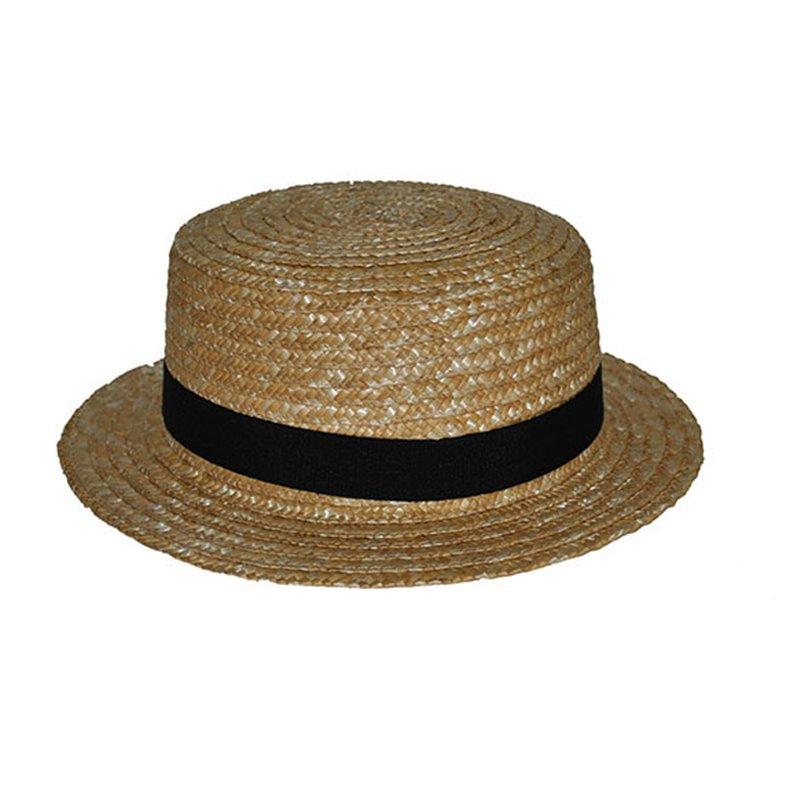 Chapeau Canotier en Paille avec Bandeau Noir de Tailles Différentes