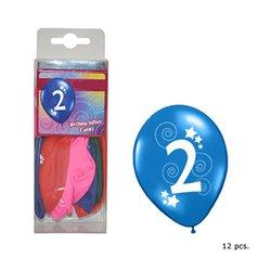 Lot de 12 ballons d'anniversaire 30 cm