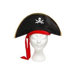 Chapeau de pirate avec ruban rouge