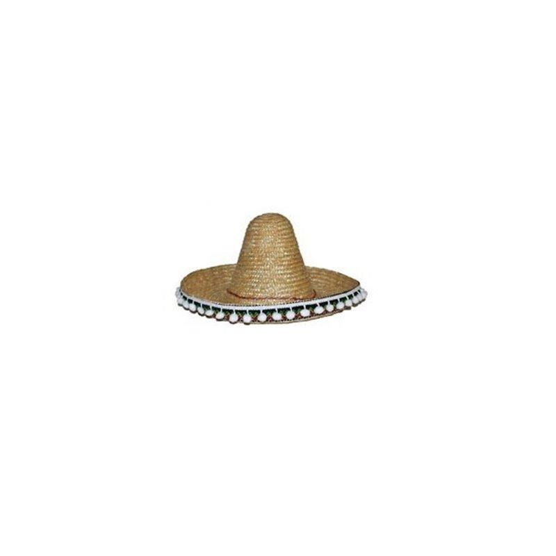 Sombrero en Paille de Couleurs Différentes avec Pompons Blanc 50 cm