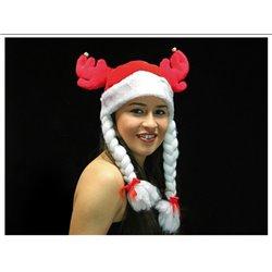 Bonnet de Noël avec Cornes Rouge et Blanc