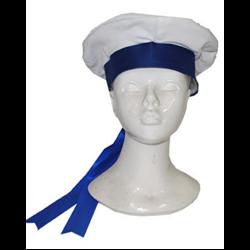 Béret de Marin Blanc avec Ruban Bleu
