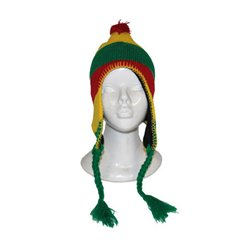 Bonnet péruvien avec pompon rouge jaune vert