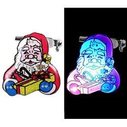 Badge Lumineux en Forme de Père Noël avec un Paquet Cadeau