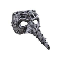 Masque Vénitien Steampunk à effet Métallisé et Clouté au Couleur Argent