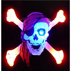 Badge Led Tête de Mort avec Bandana Rouge