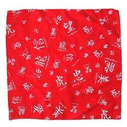 Bandana Rouge Imprimé Symboles Chinois