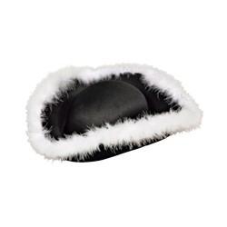 Chapeau tricorne noir avec plumes blanches