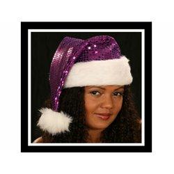 Bonnet de Noël Violet à Paillettes