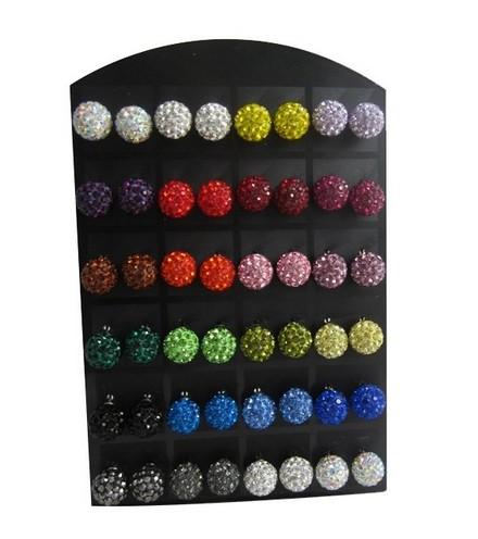 Lot de 24 Paires de Boucles d'Oreilles Shamballa de Coloris Différents
