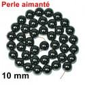 Perle aimantée hématite noir 10 mm
