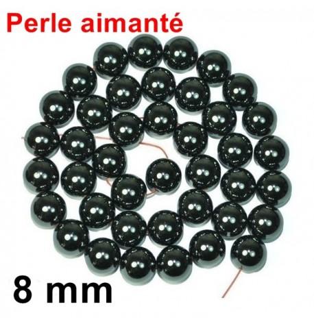 Perle Aimantée Hématite Noir 8 mm