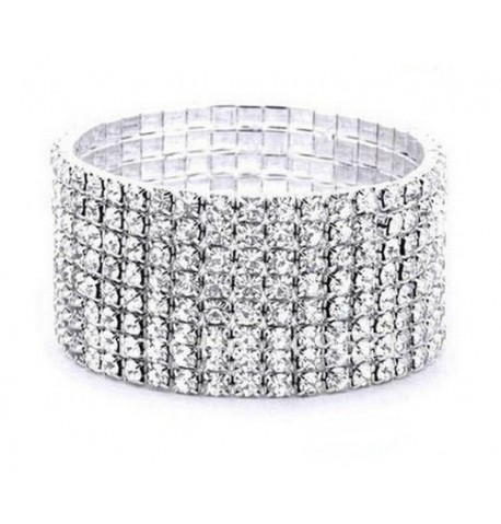 Bracelet strass argent 8 rangées