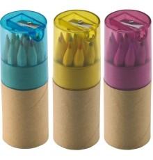 Boîte de 12 Crayons de Couleurs avec Taille-crayon