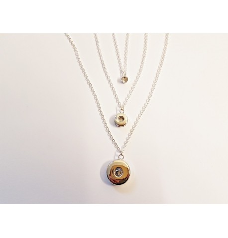 Collier triple chaines pour boutons pression