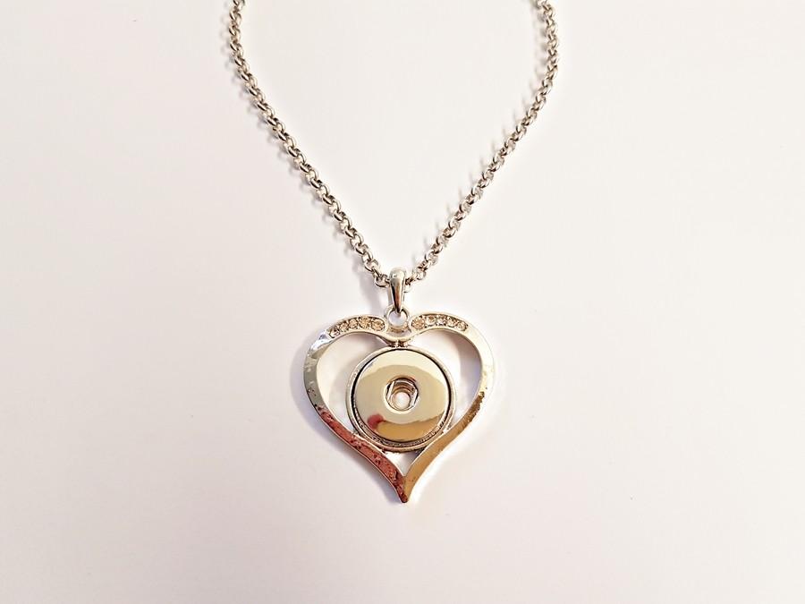 Collier coeur droit et strass pour boutons pression