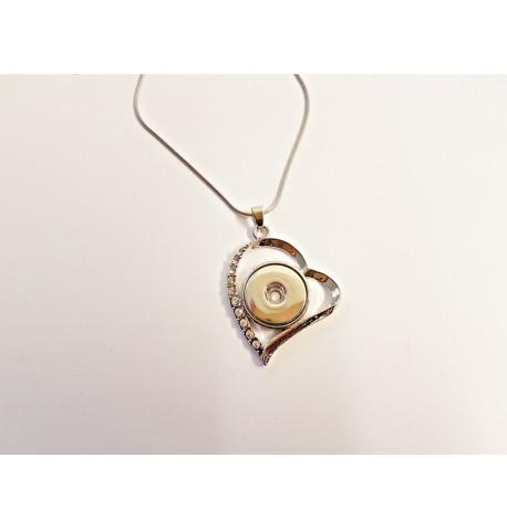 Collier coeur penché et strass pour boutons pression