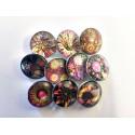 Lot de 10 boutons pression illusions florales 18mm