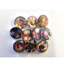 Lot de 10 boutons pression illusions florales 18mm