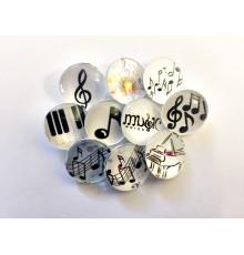 Lot de 10 boutons pression musique 18mm