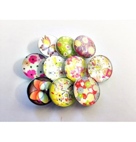 Lot de 10 boutons pression flowers power 18mm