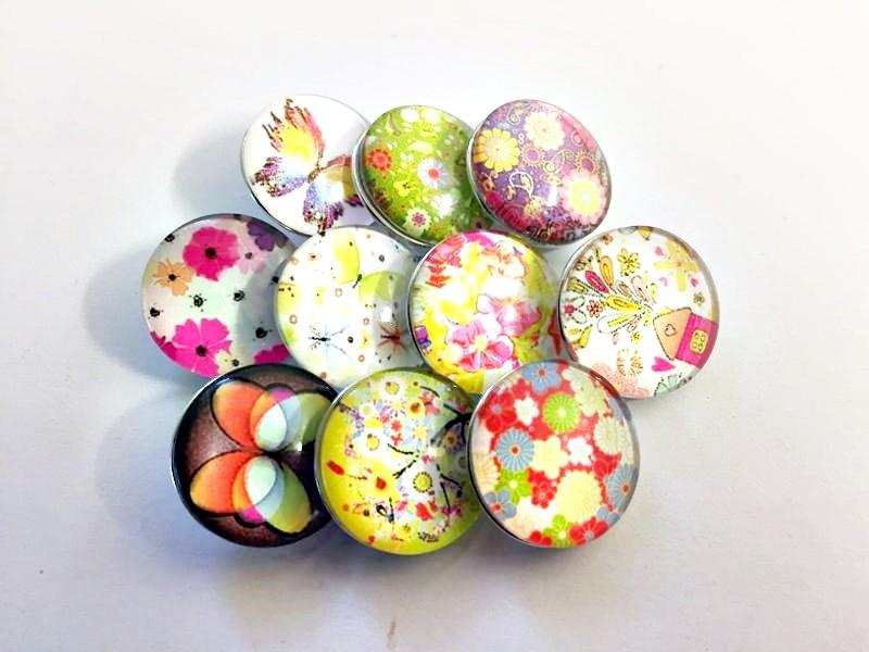 Lot de 10 boutons pression flower power 18mm