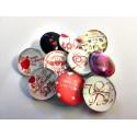 Lot de 10 boutons pression Saint Valentin 18mm