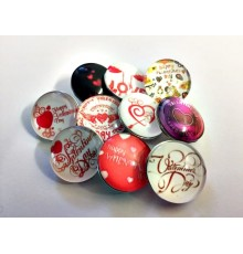 Lot de 10 boutons pression Saint Valentin 18mm