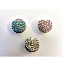 Lot de 3 boutons pression coeur métal strass 18mm