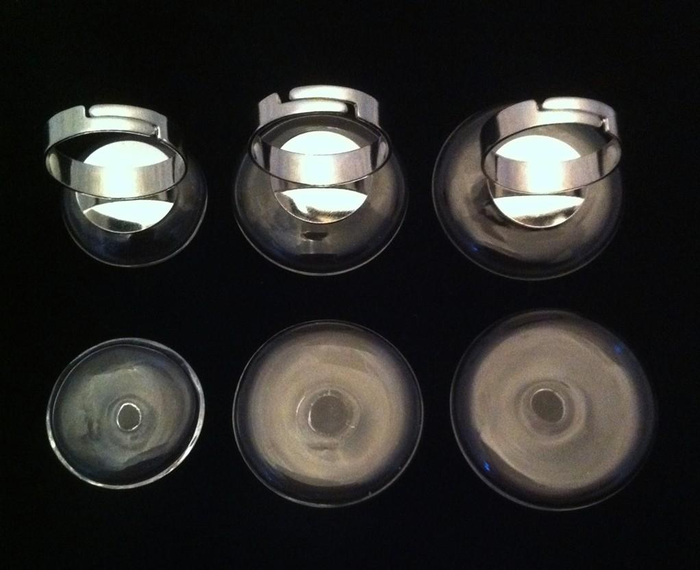 Bague globe plat en verre à remplir