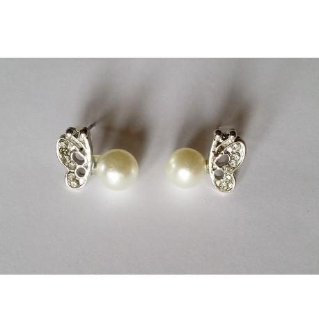Boucles d'oreilles papillon et perle