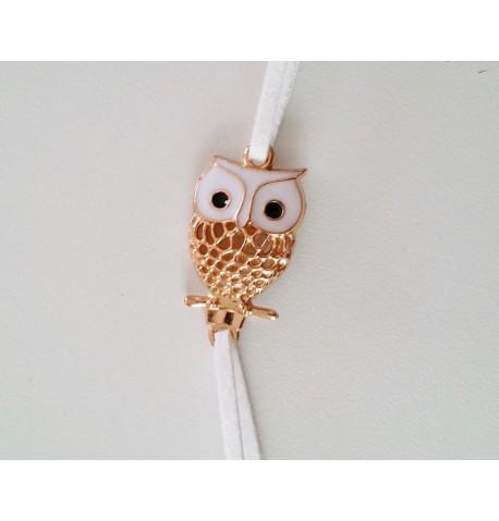 Bracelet en cuir avec petit hiboux