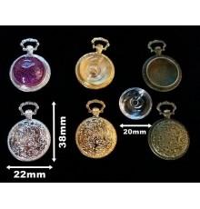 Pendentif montre gousset bulle en verre