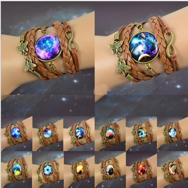 Bracelet tressé cabochon galaxie