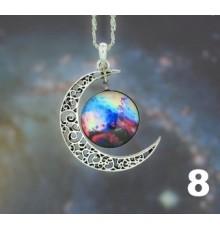Collier lune et cabochon galaxie