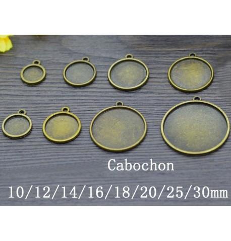 Support cabochon couleur argent