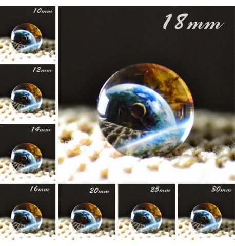 Cabochon en verre galaxie planete bleu
