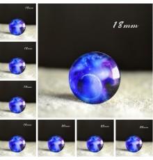 Cabochon en verre galaxie lune bleu