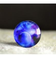 Cabochon en verre lune bleu