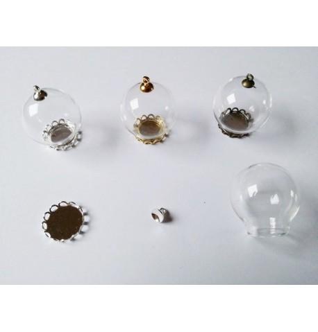 Pendentif Globe en verre à remplir et support