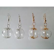 Boucles d'oreilles bulles en verre 20mm et décorations