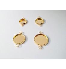 Support doré double attaches pour cabochon ou globe à remplir