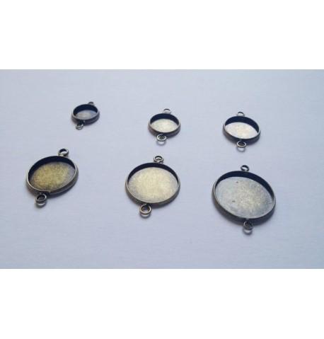 Support bronze double attaches pour cabochon ou globe à remplir