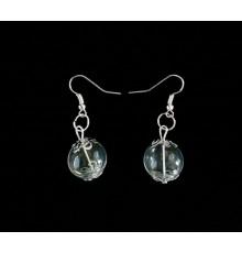 Boucles d'oreilles bulles en verre et décorations